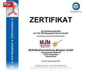 MJM-Metallverarbeitung ISO 9001:2015 Zertifikat TÜV-Süd, gültig 2018-2019